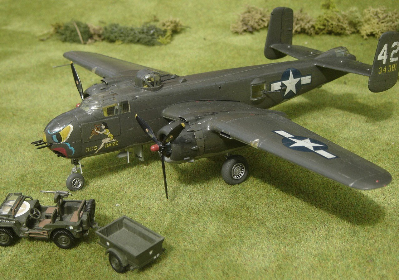 North American B-25H Mitchell 'Dog Daize' of the 82nd BS, 12th BG, December 1943, in 1/72nd scale. Kit is by Hasegawa. With Airfix 1/76 Jeep.