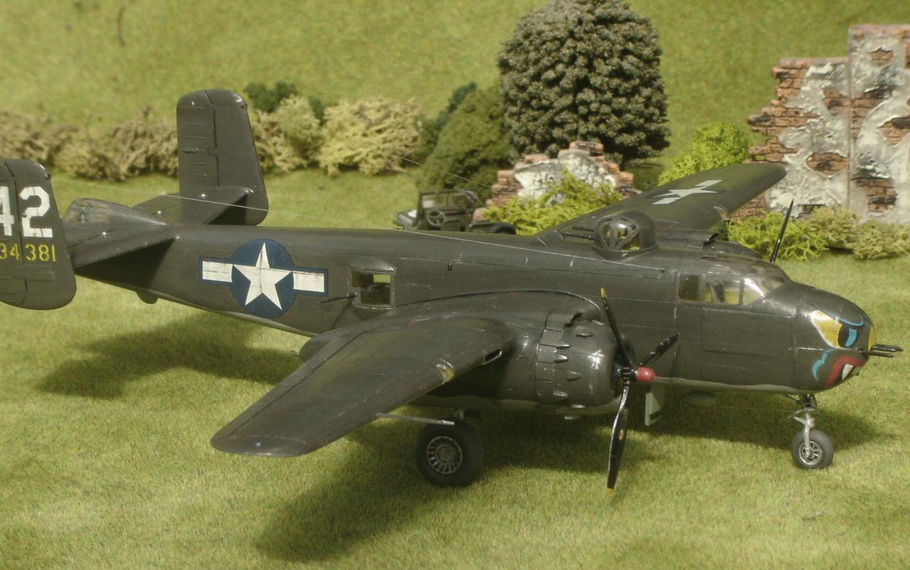 North American B-25H Mitchell 'Dog Daize' of the 82nd BS, 12th BG, December 1943, in 1/72nd scale. Kit is by Hasegawa.