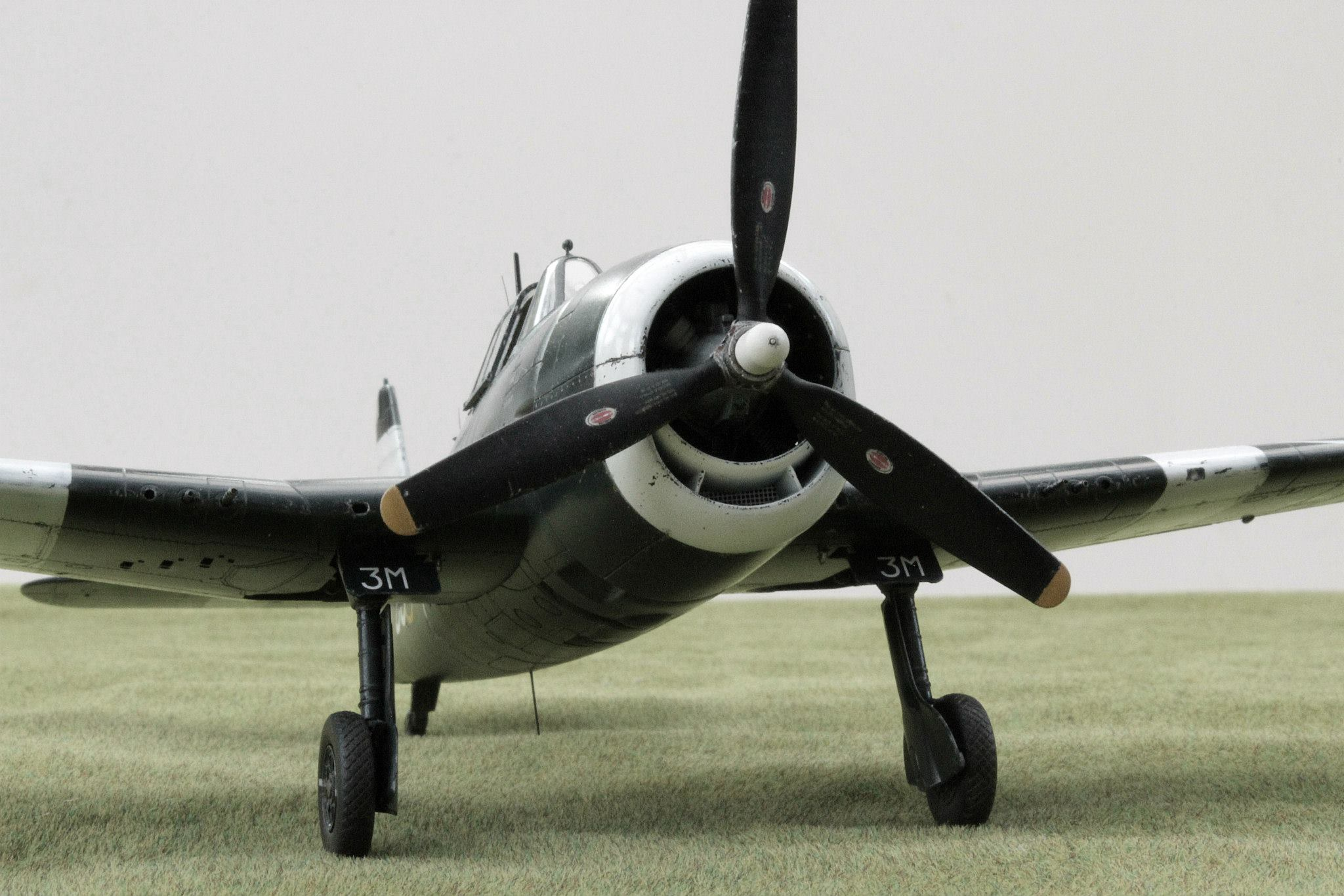Grumman Hellcat Mk II JZ931 'C3-M' of 800 squadron, SEAC, at Trincomalee in October 1945. Kit is in 1/48th scale by Eduard.