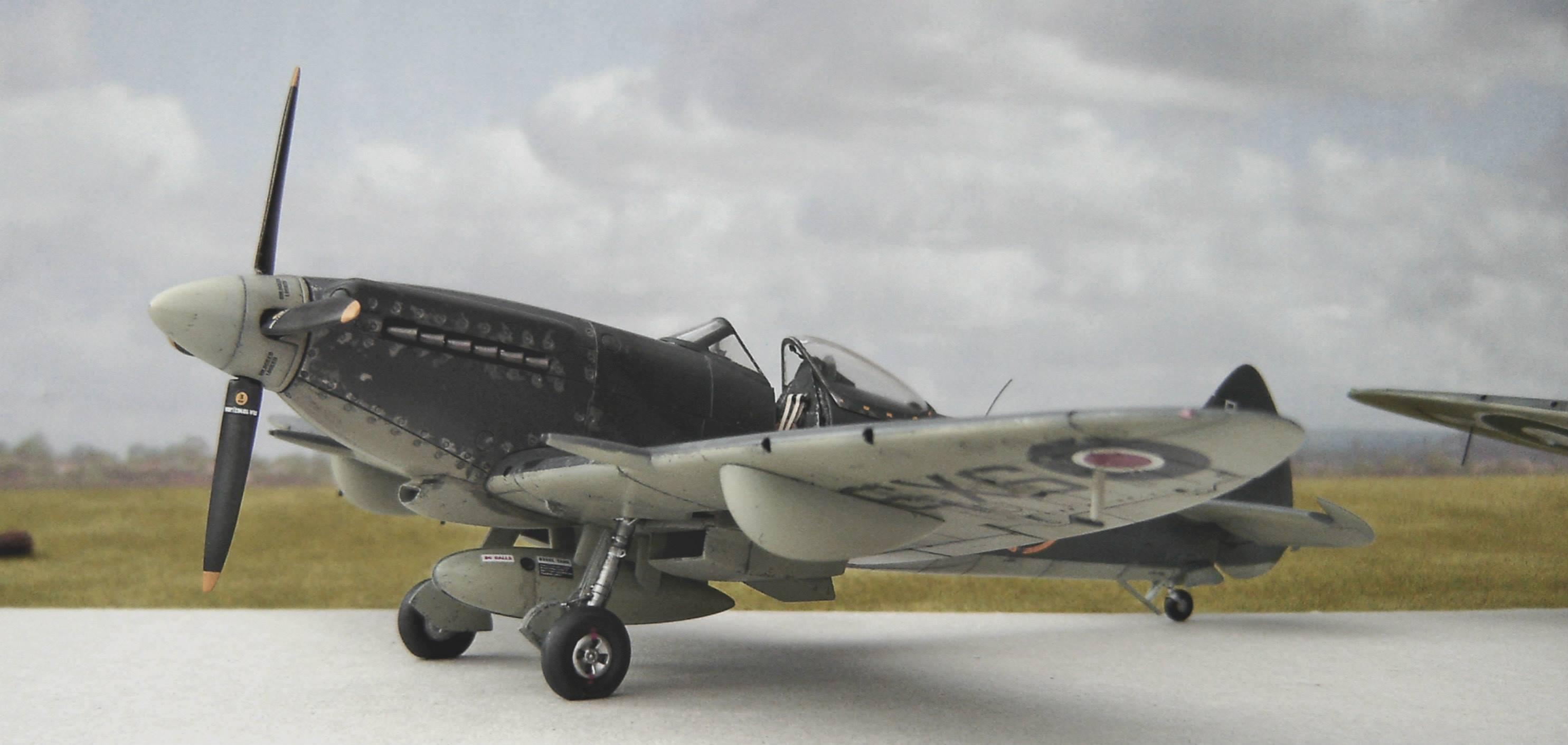 Seafire Mk XVII SX358, No 800 NAS, Fleet Air Arm on HMS Triumph and at Hal Far, Malta in 1947. Airfix kit in 1/48th scale.
