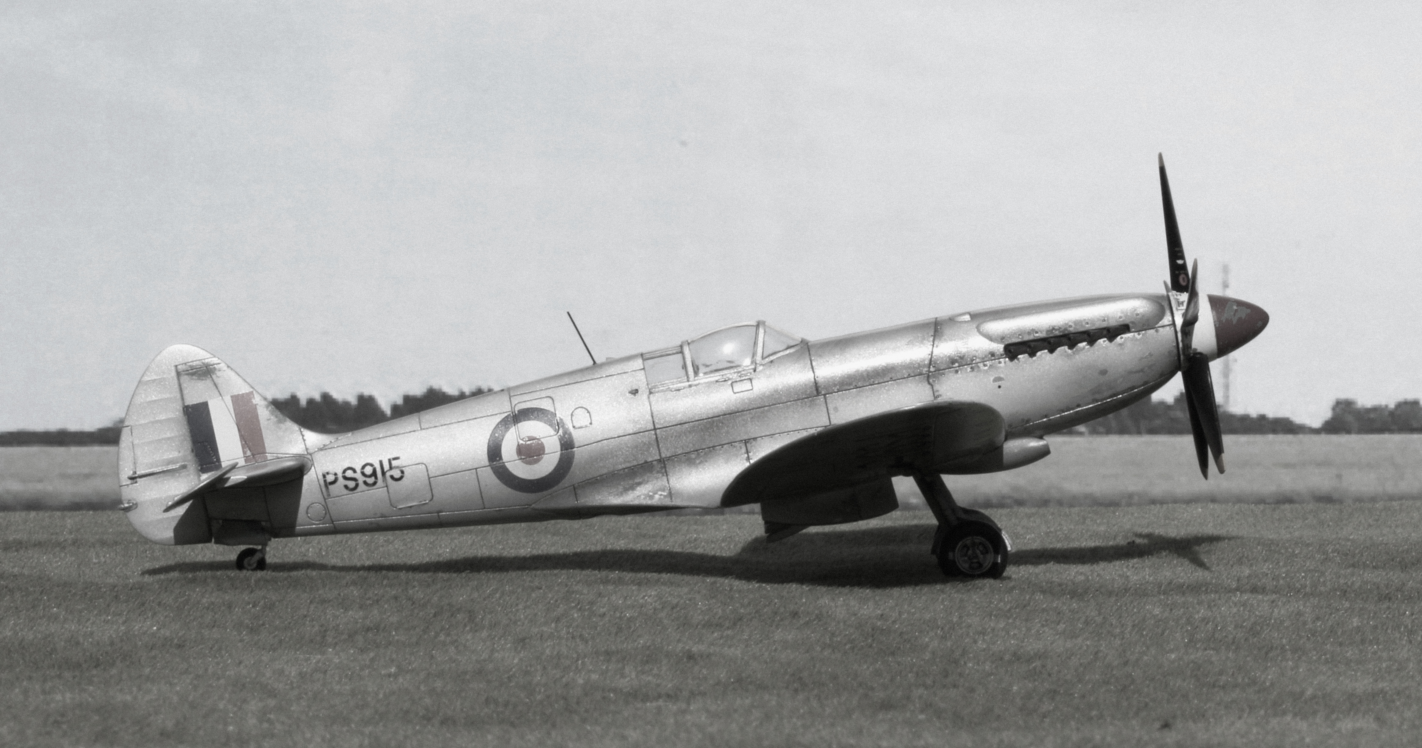 Black and White edited image of Spitfire Mk XIX