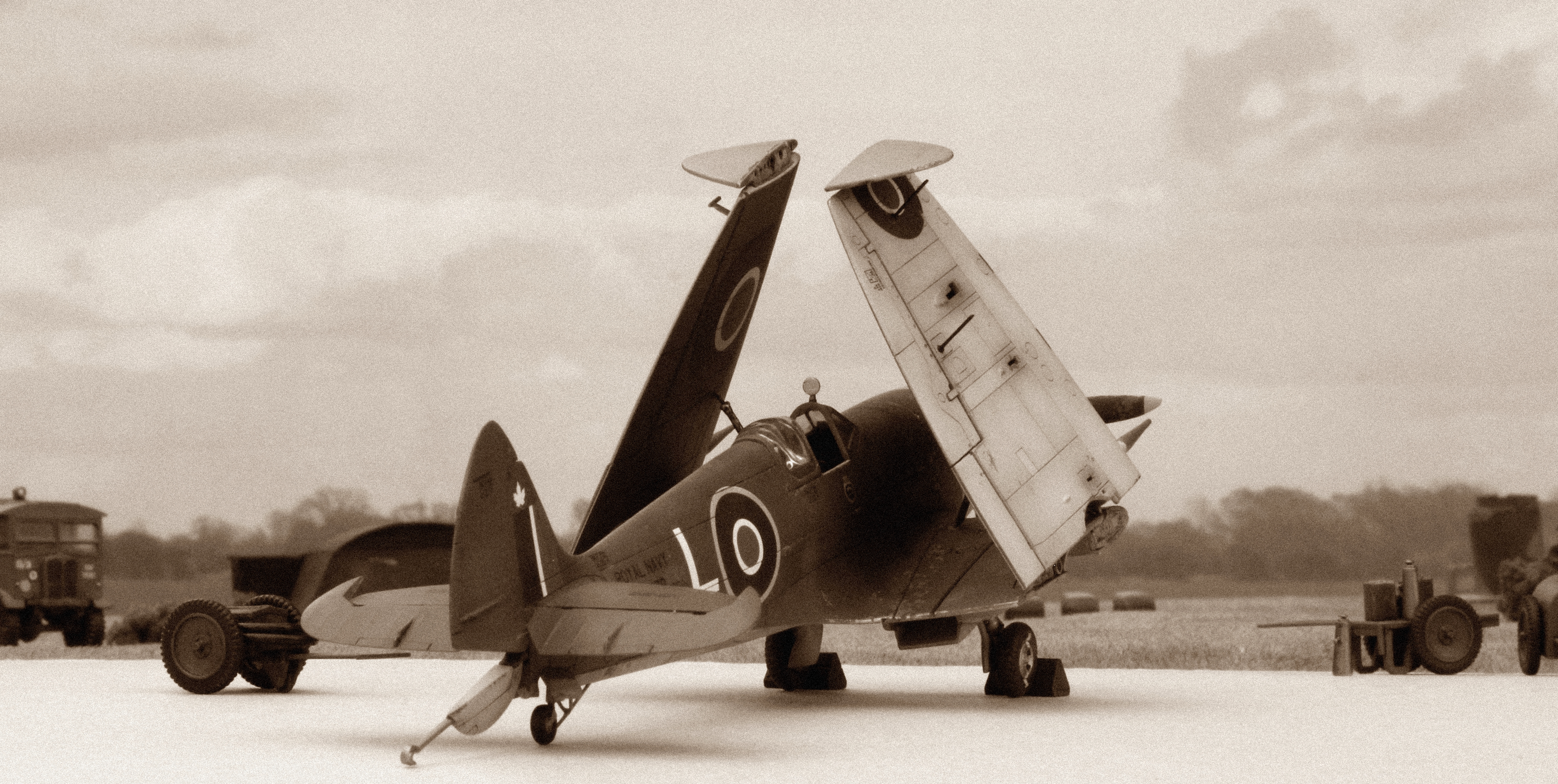 "Supermarine Seafire Mk XV, serial PR479, ""L"", of 803 Squadron on board HMCS Warrior during November 1947. Airfix kit-bash in 1/48th scale."