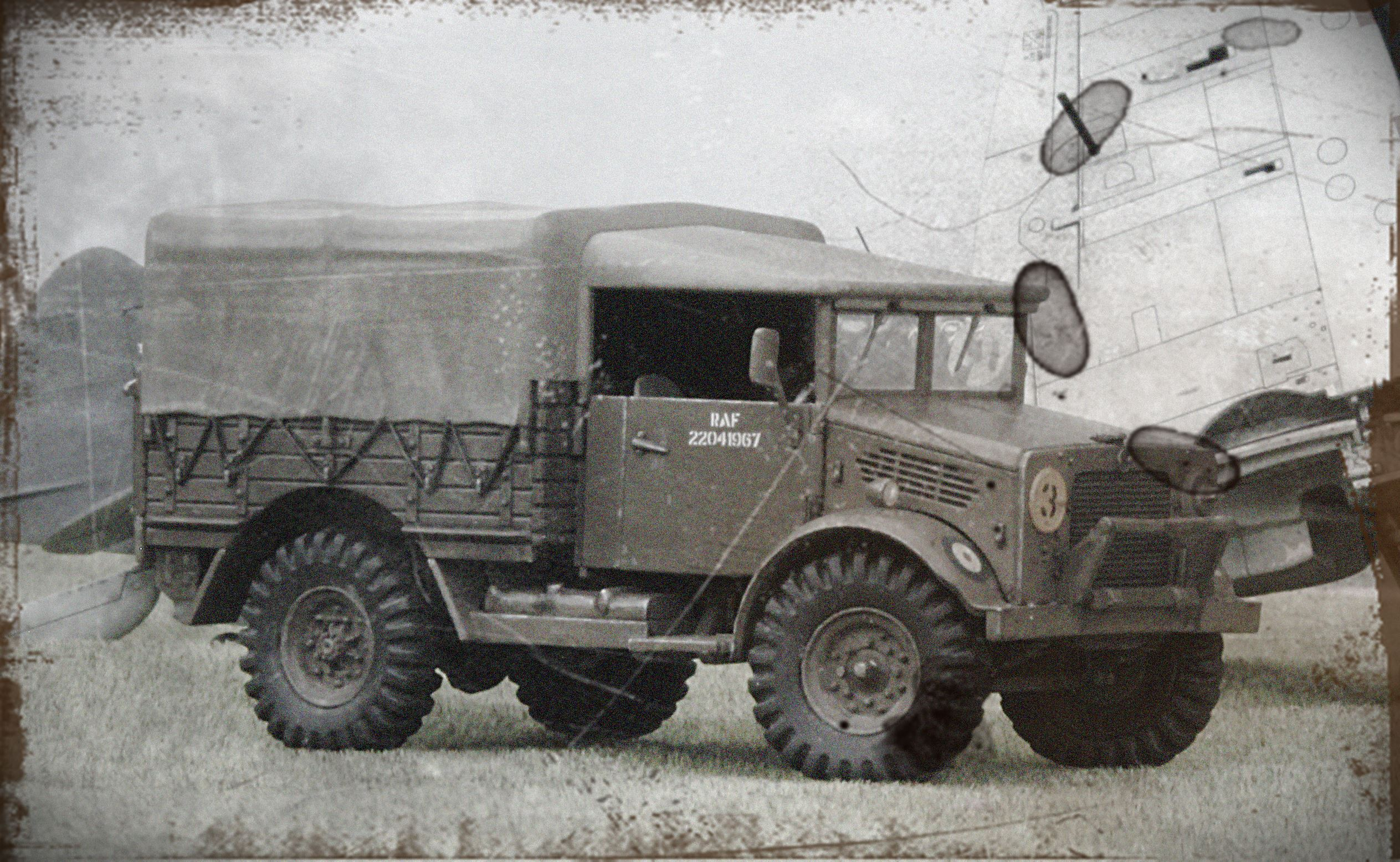 Airfix 1/48th scale late version Bedford MWD in RAF service. Image has a decorative 'vintage' overlay applied.