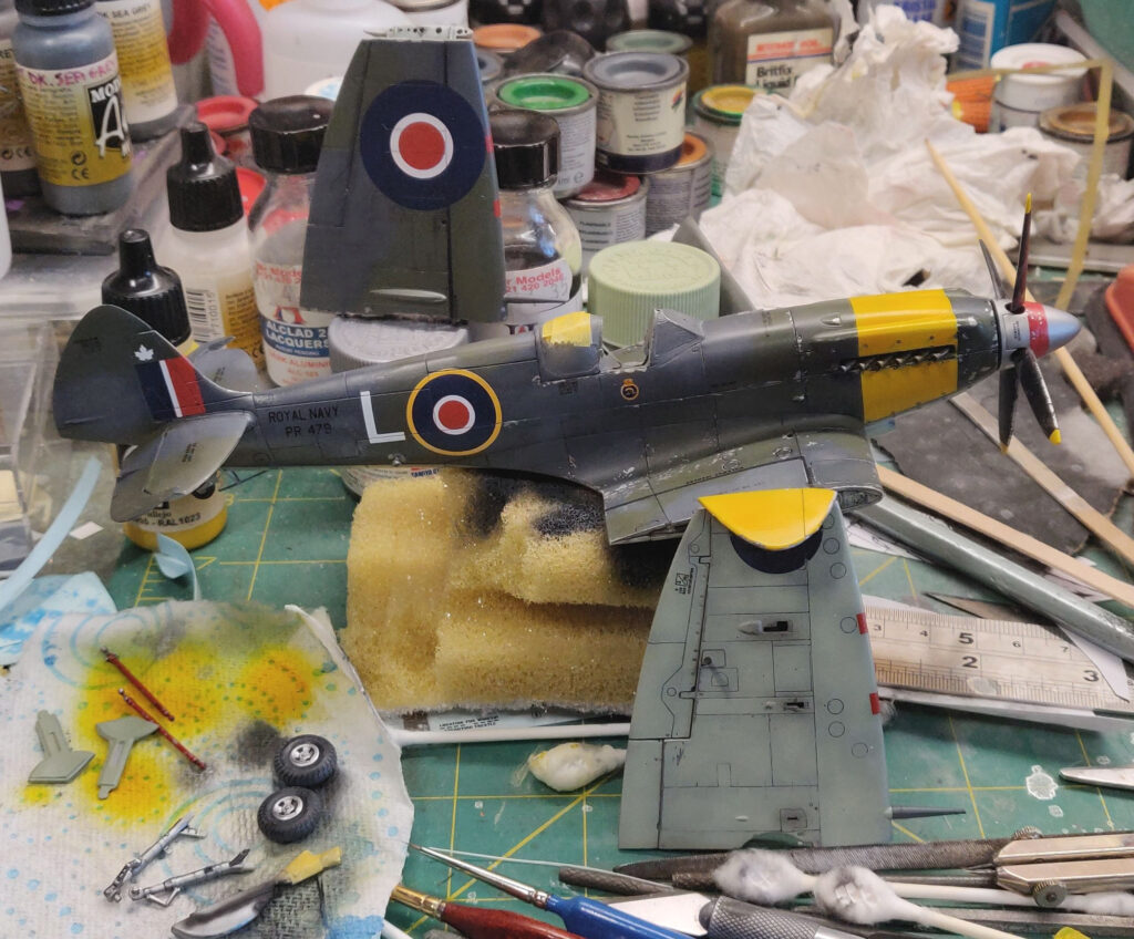 Seafire Mk XV - Airfix Spitfire XII and Seafire XVII cross-kitting almost complete with major assemblies ready to bring together.