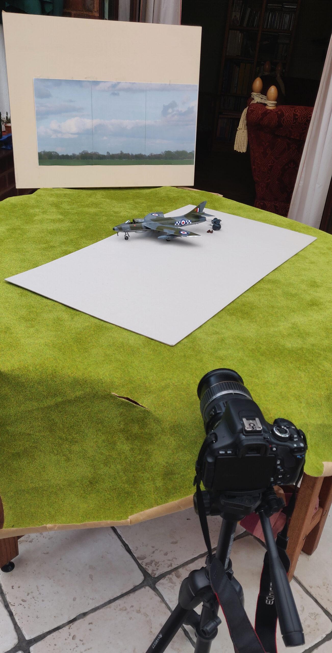 Hawker Hunter F.6 1/48th scale photo shoot setup