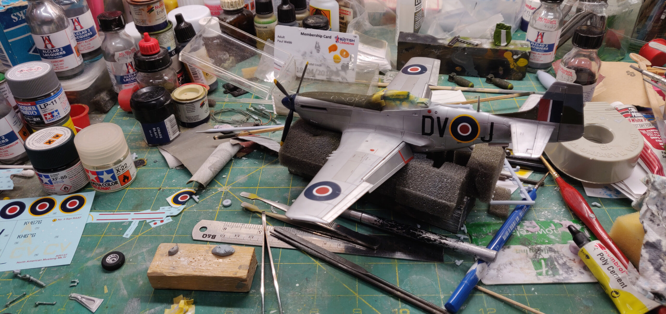 P-51K Mustang Mk IVa RAF in 1/48 scale work in progress.